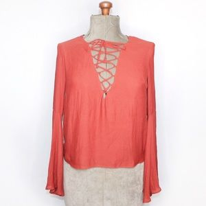 🎀 Forever 21 Dusty Coral Chiffon Cross Tie Blouse
